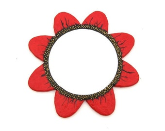 Decorative Wall Mirror,Red Poppy Mirror with 8 petals and Golden Spots,Large Round Mirror,handmade mirror