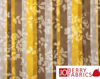 Gold, Mocha and Gray Floral Stripe Fabric