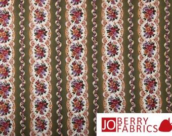 Village Rose Floral Stripe Fabric