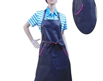 Women's Leather Apron With Pockets & Adjustable Neck BWP006