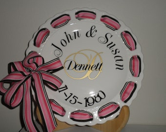 "Personalized 12"" Round Ribbon Plate"