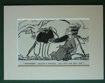 1936 Vintage Children's Print - Vintage Print - Seagull - Children's Illustration - Matted - Fantasy - Fairytale - Giant Shoe - Adventure