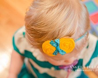 Yellow Teal  Baby Headband , Girls Double Rosettes Headband ,Headband for Baby girls toddlers infants women