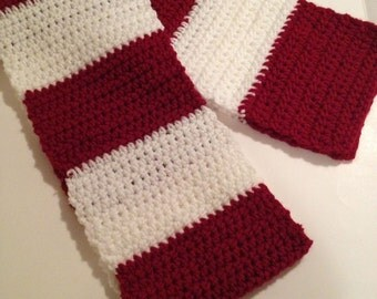 Crochet Scarf, Candy Cane, Cranberry and White