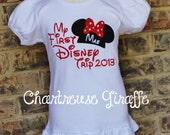 "Personalized ""My First Disney Trip"" Minnie Mouse Shirt. Girls Disney Vacation Shirt"