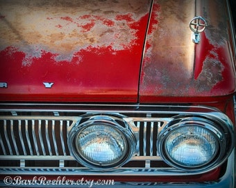 Vintage Merc - Rustic Wall Art - Classic Car Art Prints - Retro Print - Vintage Car Photography - Garage Art - 1960's - Red - Rusty