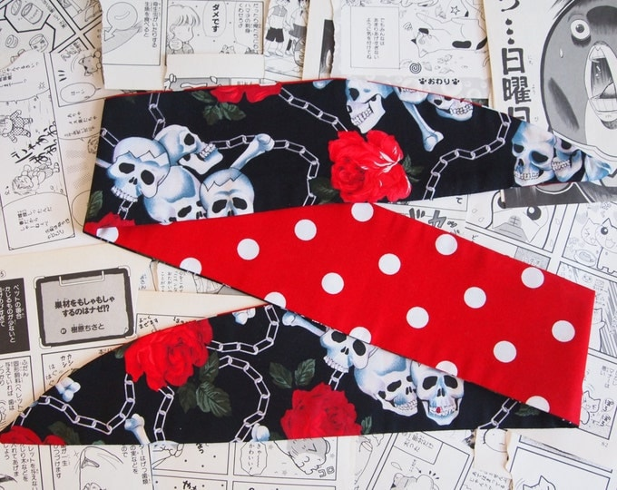 Vintage 50s Reversible Black Skull, Chain And Rose And Red Polka Dot Head Scarf - Hair Tie 1950s Bandanna Tattoo Skulls Skeleton Steampunk