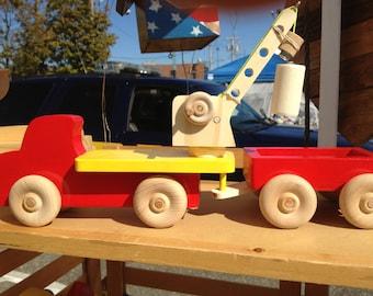 Childrens Wood Toy Crane
