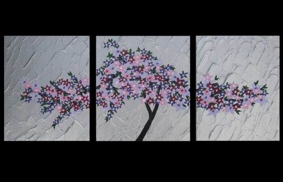 Wall Decoration Tree Painting: 3 Canvas Cherry Blossom Triptych Blossoms Painting Paintings