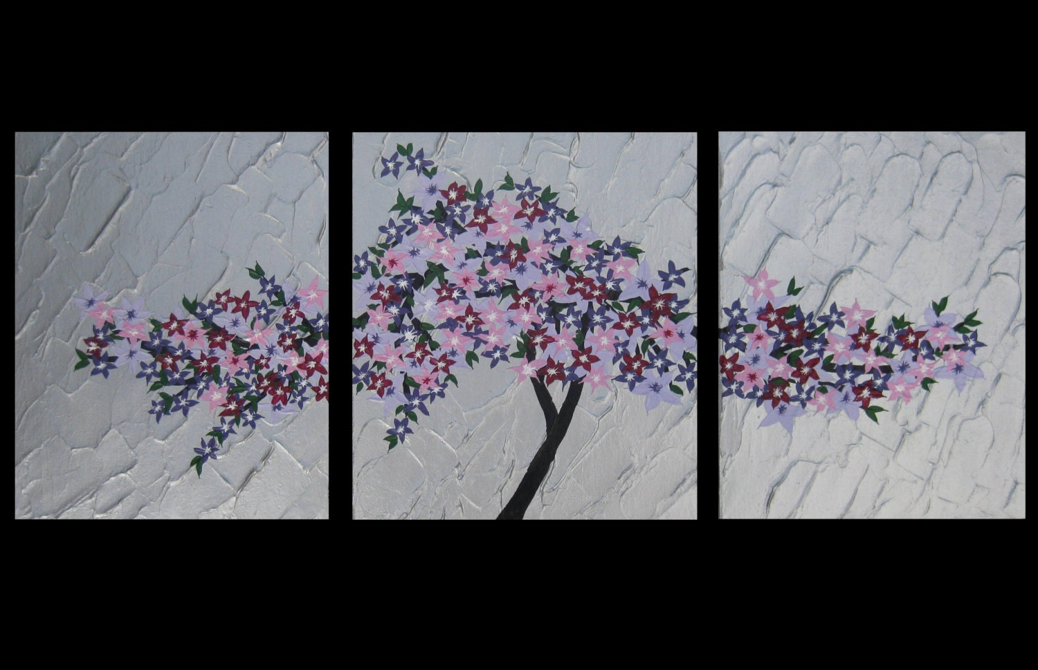 3 canvas cherry blossom triptych blossoms painting paintings for Canvas painting of cherry blossoms