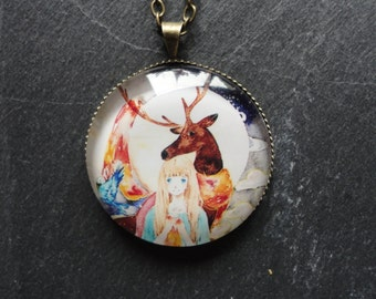 Necklace with Deer and Girl