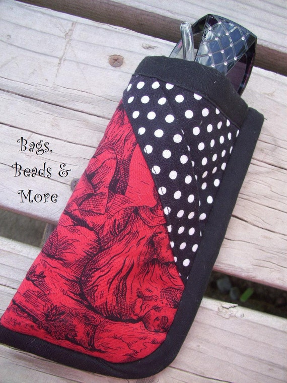 Black and Red Toille Eyeglass Case, Polka Dot Sunglass Case