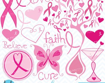 Breast cancer clipart commercial use, vector graphics, digital clip art, digital images  - CL389