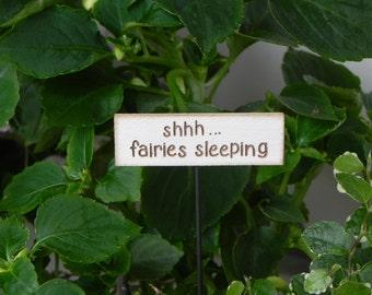 Miniature Fairy Garden Sign shhh fairies sleeping