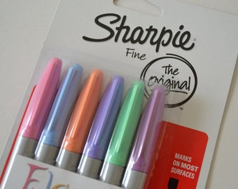 Sharpie Fine Tip Permanent Markers in Floral Colors - Pack of 6 in Pink, Sky Blue, Peach, Lilac, Mint & Boysenberry