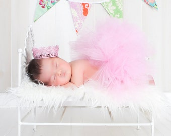 Super fluffy Newborn tutu photo prop (half tutu, easy to wear & comfortable), custom color available