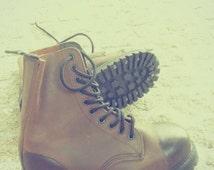 Combat brown boots, women size 37,5 EUR 7US,men size 5, Vintage Work Boots Hiking or combat Boots