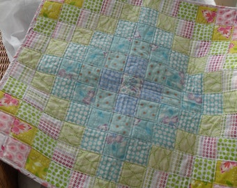 handmade patchwork cot quilt, baby blanket, lap quilt, ready to post, Mo Bedell Fabrics