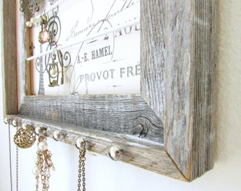 Barnwood Jewelry Organizer - Paris Stamp - French - Eiffel Tower Frame Nailhead Necklace Hooks - Natural