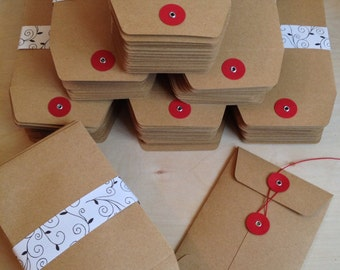 "String Tie Envelopes, 5"" x 3.5"" Brown Paper (red button, red string) Set of 5"