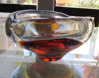 Vintage Murano Glass Clear to Amber color Bowl Ash Tray