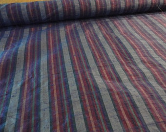 Blue Striped Silk Dupioni