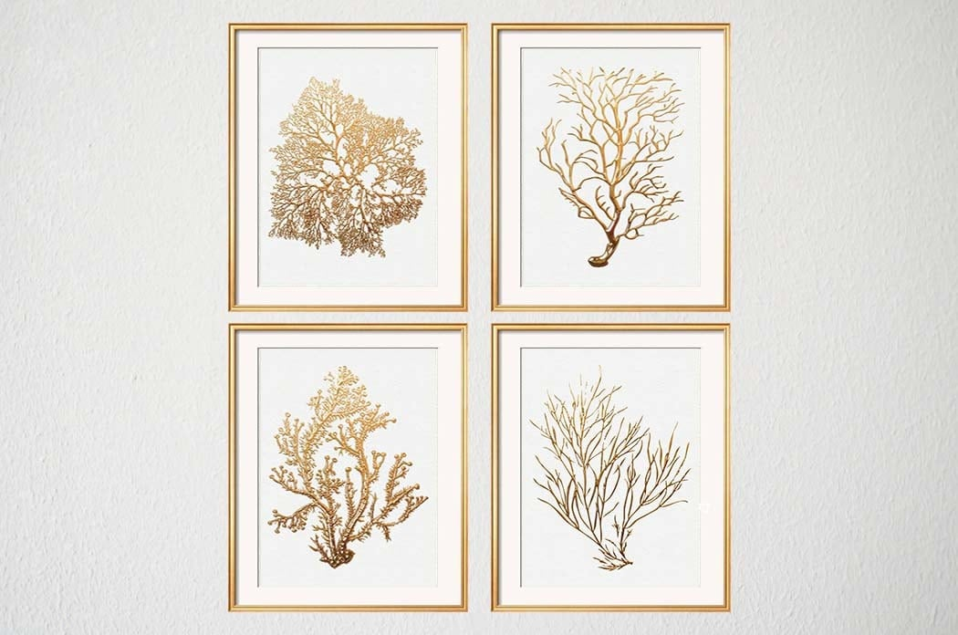 Gold coral print set of four sea coral art prints beach house for Beach house prints