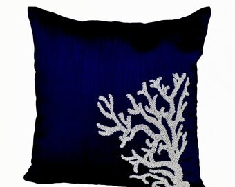 Navy Blue Throw Pillow With Gold Sequin Boarder Sequin