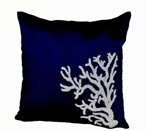 Decorative pillow white coral on navy blue silk in beads