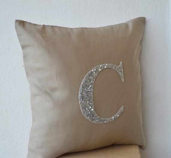 Linen Monogram Throw Pillow: Initial Throw Pillow Silver Initial Pillow Grey Initial