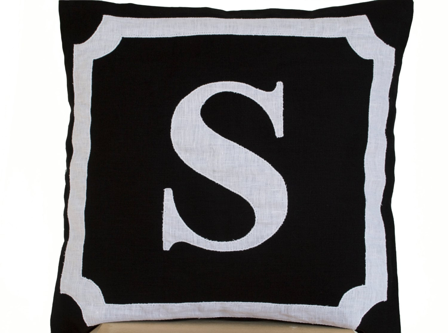 Personalized Monogram Throw Pillow Cotton Pillows Black