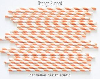 Buy 2, Get 1 FREE!!!    ORANGE Striped Paper Straws - Pack of 25 - Dandelion Design Studio