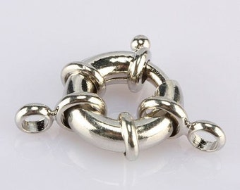 10 pieces Rhodium Plated Copper Spring Rings Clasps,Round Claw Clasps Jewelry Finding
