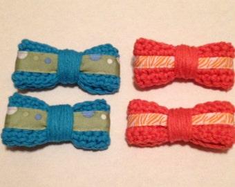 Orange or Blue Crochet Hairbows, Set of 2, you choose