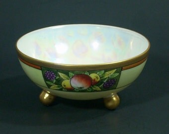 Nippon Finger Bowl Pearl Lustre Footed  Antique