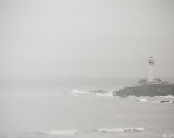 "Black and White Photography - lighthouse in fog California coastal minimalist art lighthouse art landscape photo 8x10 wall art - ""Adrift"""