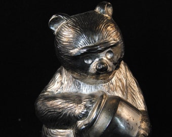Vintage silver-plated bear piggy bank by Newport Silverplate
