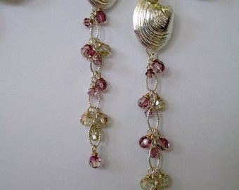 Shell and Swarovski Crystal Dangle Earrings