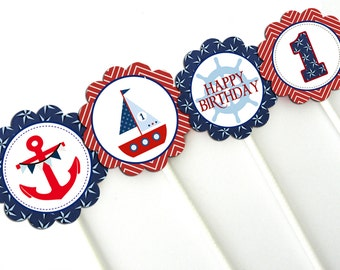 INSTANT DOWNLOAD Nautical Theme 2 Inch Party Circles for Cupcake Toppers, Favor Bags, Napkin Rings, Decorations PRINTABLE file