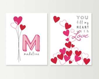 Baby Girl Monogram Decor - Pink Nursery Art Prints SET of 2 - Red & Pink Hearts Balloons - You Fill My Heart with Love - Nursery Wall Art