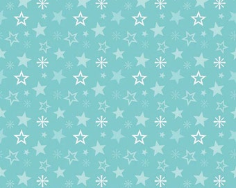 Fabric Merry Little Christmas Merry Stars Aqua Riley Blake Designs by Zoe Pern 1/2 Yard