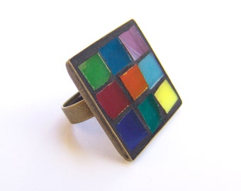 Colorful squares Mosaic ring, adjustable bronze ring, stained glass jewelry, Free shipping