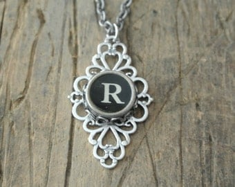 "Typewriter ""R"" Initial Key Necklace, UPcycled, Vintage, Repurposed, Authentic, filigree backing,Numbers and A-Z available By UPcycled Works!"