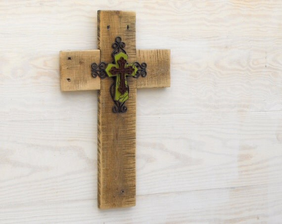 A one of kind recycled reclaimed pallet wood cross