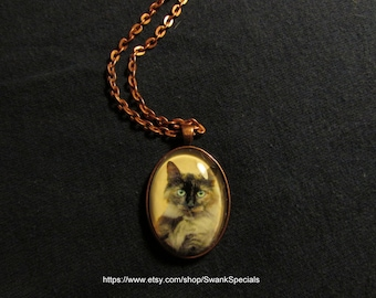Inquisitive Cat Art Pendant with Chain