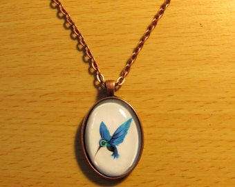Blue Hummingbird Art Pendant