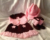 Crochet Cowgirl Diaper Cover and Vest, Boots and Hat