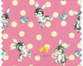 Dear Little World- Bunny Coordinate on Pink, Japanese Fabric, Vintage Inspired Fabric, Granny Chic Fabric