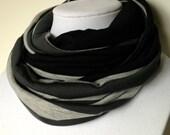 Serious Black Grey Stripes- Infinity Scarf- Tube Scarf
