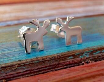 Christmas Reindeer Earrings, Sterling Silver Christmas Earrings